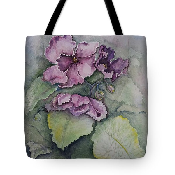African Violets Tote Bag by Rebecca Matthews
