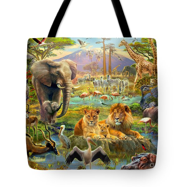 African Watering Hole Tote Bag