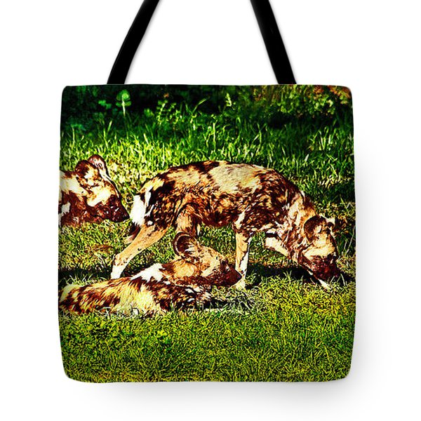 African Wild Dog Family Tote Bag by Miroslava Jurcik