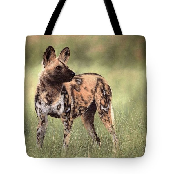 African Wild Dog Painting Tote Bag