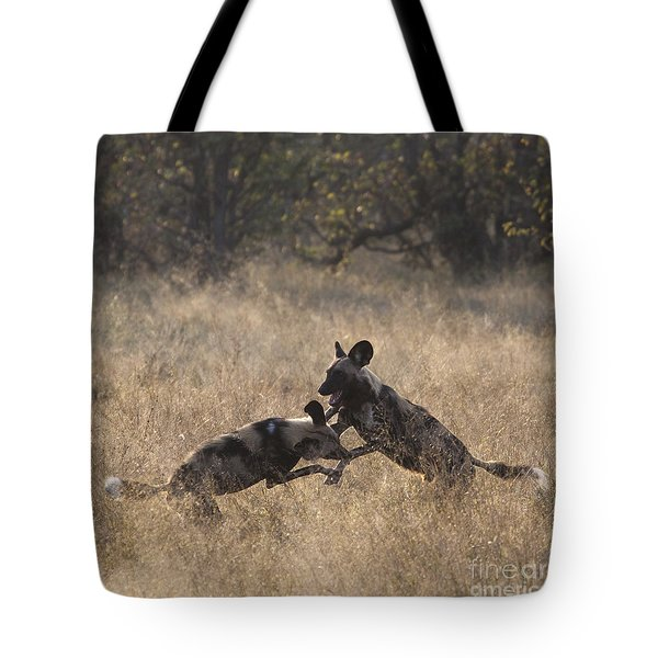Tote Bag featuring the photograph African Wild Dogs Play-fighting by Liz Leyden