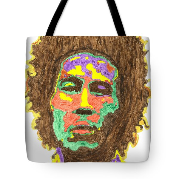 Tote Bag featuring the painting Afro Bob Marley by Stormm Bradshaw