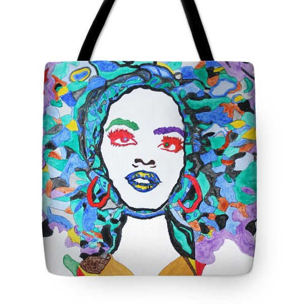 Tote Bag featuring the painting Afro Lauryn Hill  by Stormm Bradshaw