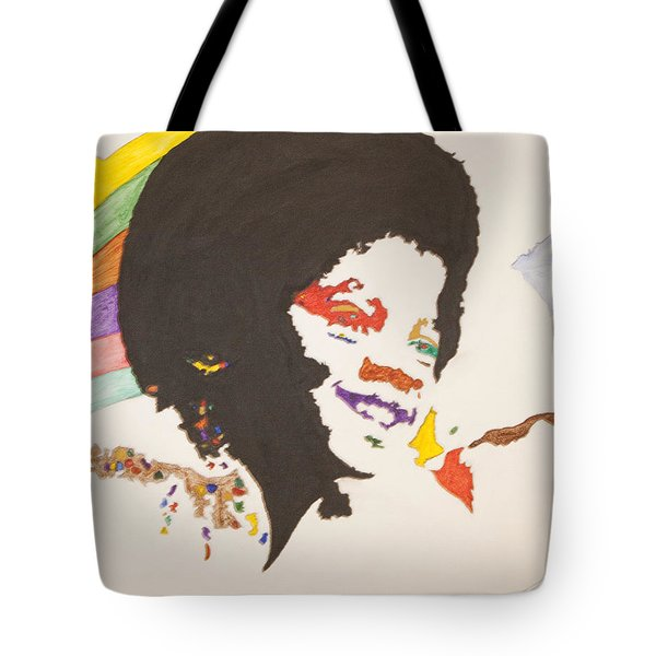 Tote Bag featuring the painting Afro Michael Jackson by Stormm Bradshaw