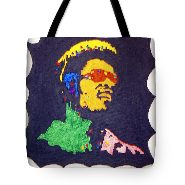 Tote Bag featuring the painting Afro Stevie Wonder by Stormm Bradshaw
