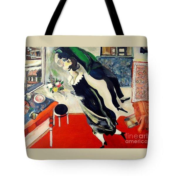 after Marc Chagall Tote Bag by Jodie Marie Anne Richardson Traugott          aka jm-ART