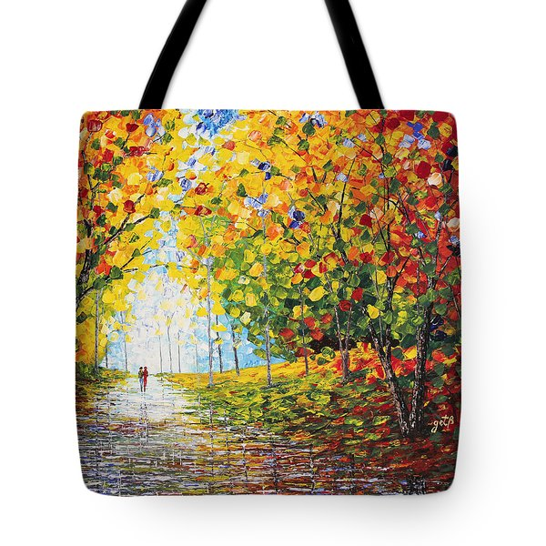 Tote Bag featuring the painting After Rain Autumn Reflections Acrylic Palette Knife Painting by Georgeta Blanaru