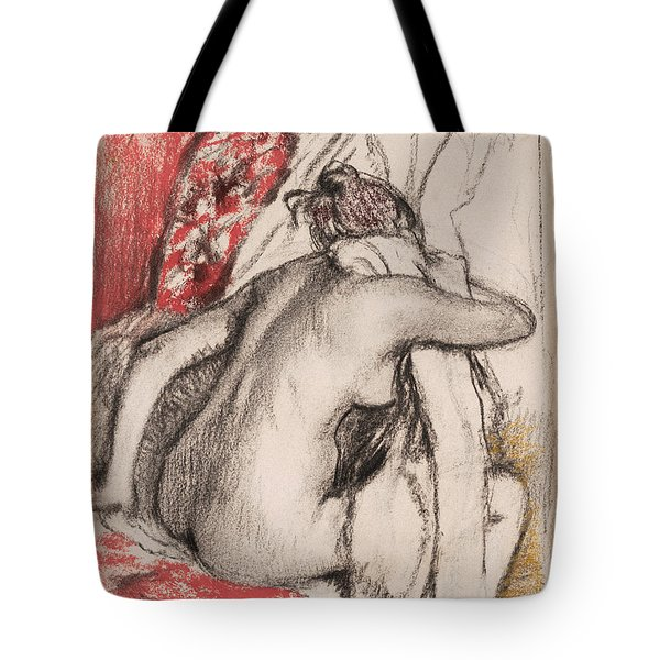 After The Bath.seated Woman Drying Herself Tote Bag