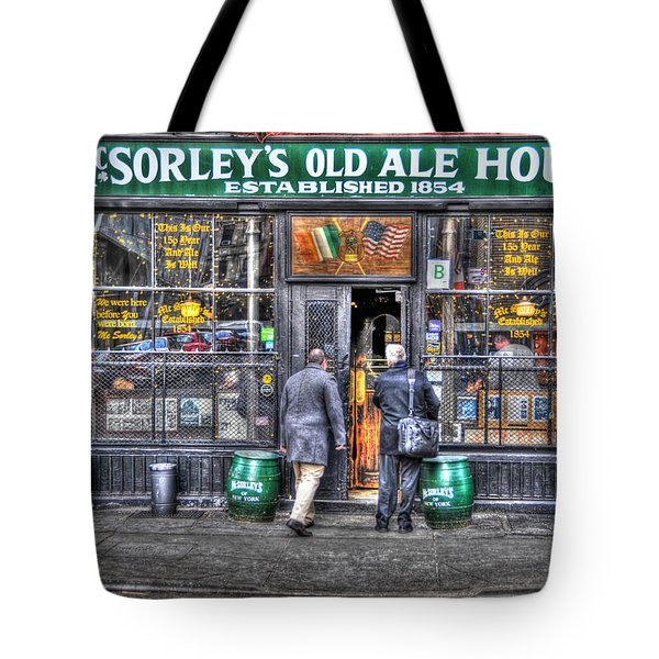 Afternoon At Mcsorley's Tote Bag by Randy Aveille