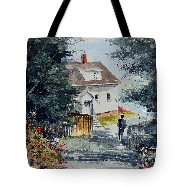 Afternoon At Owl's Head Lighthouse Tote Bag