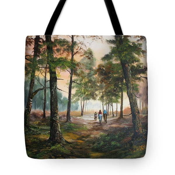 Afternoon Ride Through The Forest Tote Bag