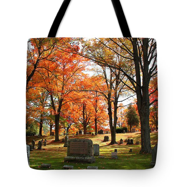 Tote Bag featuring the photograph Afternoon Sun In The Cemetery by Rita Brown