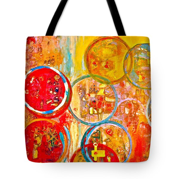 Against The Rain Abstract Orange Tote Bag