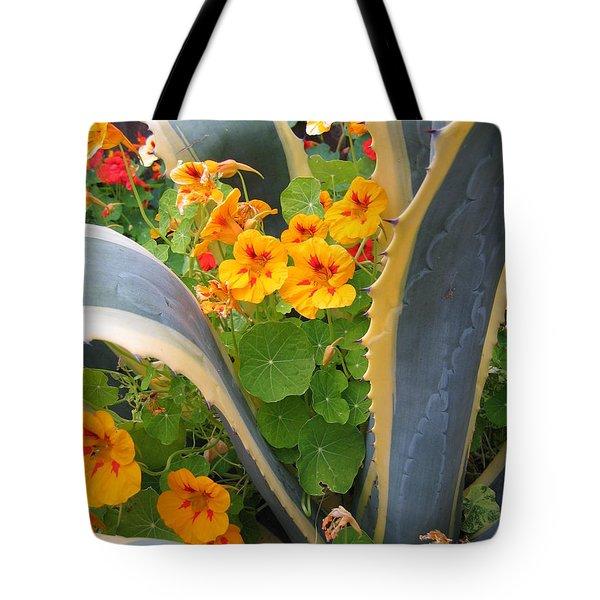 Agave And Nasturtiums Tote Bag