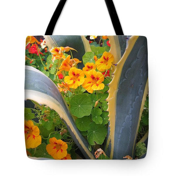 Agave And Nasturtiums Tote Bag