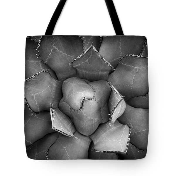 Agave Black And White Abstract Tote Bag by Adam Romanowicz