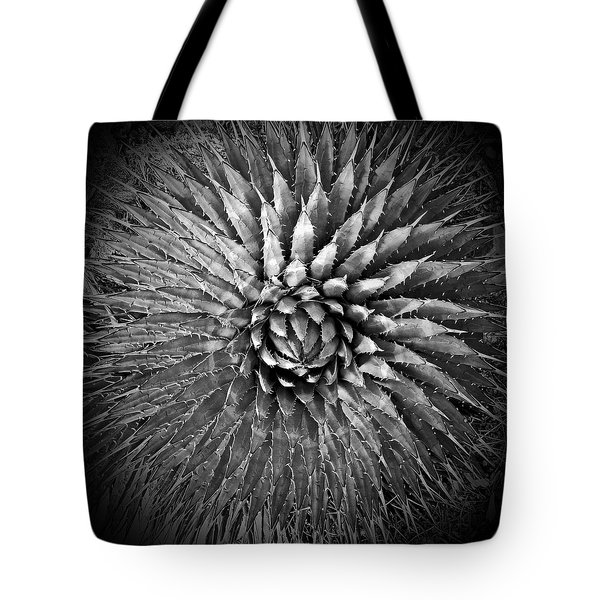 Agave Spikes Black And White Tote Bag by Alan Socolik