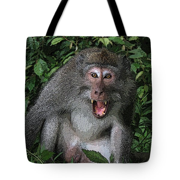 Tote Bag featuring the photograph  Aggressive Monkey From Bali by Sergey Lukashin