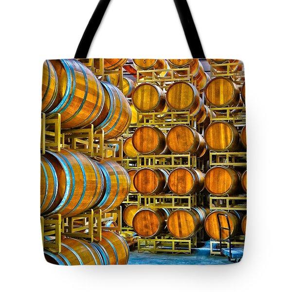 Aging Wine Barrels Tote Bag