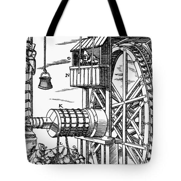 Agricola Waterwheel, 1556 Tote Bag