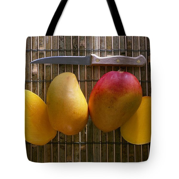 Agriculture - Sliced Sunrise Mango Tote Bag by Daniel Hurst