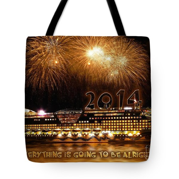 Tote Bag featuring the photograph Aida Cruise Ship 2014 New Year's Day New Year's Eve by Paul Fearn