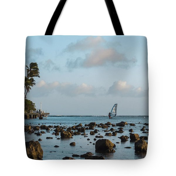 Tote Bag featuring the photograph Aina Haina Windsurfer 1 by Leigh Anne Meeks