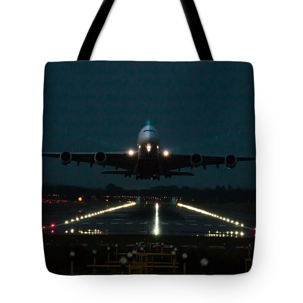 Airbus A380 Take-off At Dusk Tote Bag by Tim Beach