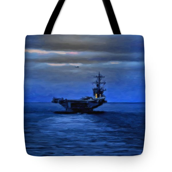 Aircraft Carrier Tote Bag by Michael Pickett