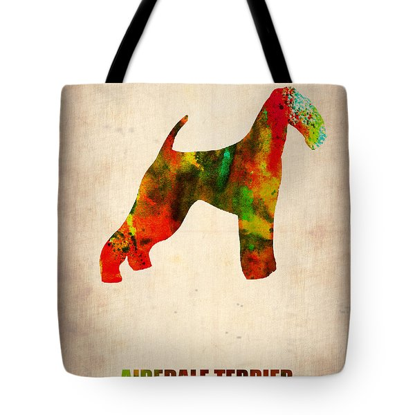 Airedale Terrier Poster Tote Bag by Naxart Studio
