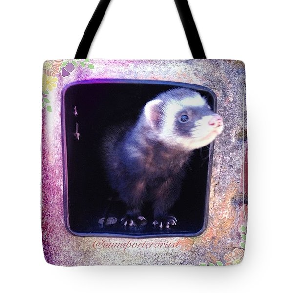 Airmail Ferret Tote Bag by Anna Porter