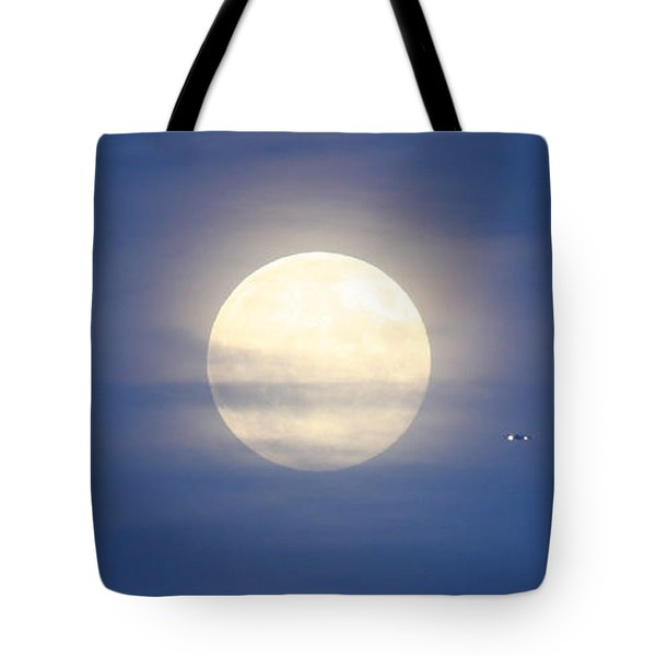 Airplane Flying Into Full Moon Tote Bag