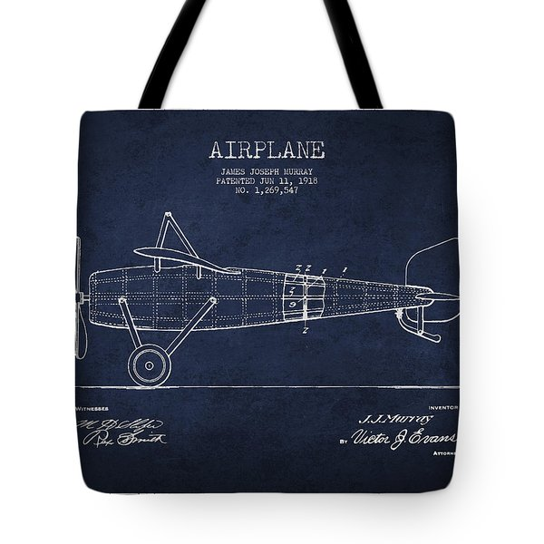 Airplane Patent Drawing From 1918 Tote Bag by Aged Pixel