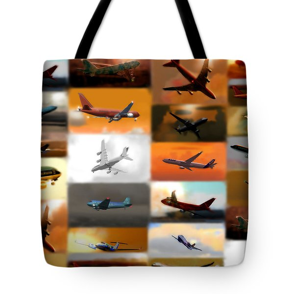 Airplanes Collage Tote Bag by Marcello Cicchini
