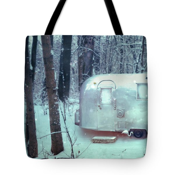 Airstream Trailer In Snowy Woods Tote Bag by Jill Battaglia