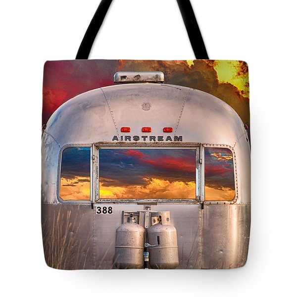 Airstream Travel Trailer Camping Sunset Window View Tote Bag