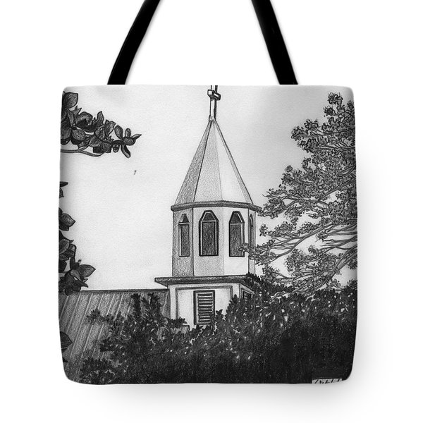 Tote Bag featuring the drawing Ajeltake Steeple by Lew Davis