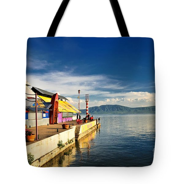 Tote Bag featuring the photograph Ajijic Pier - Lake Chapala - Mexico by David Perry Lawrence