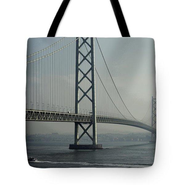 Akashi Kaikyo Bridge Posterization Tote Bag by Daniel Hagerman