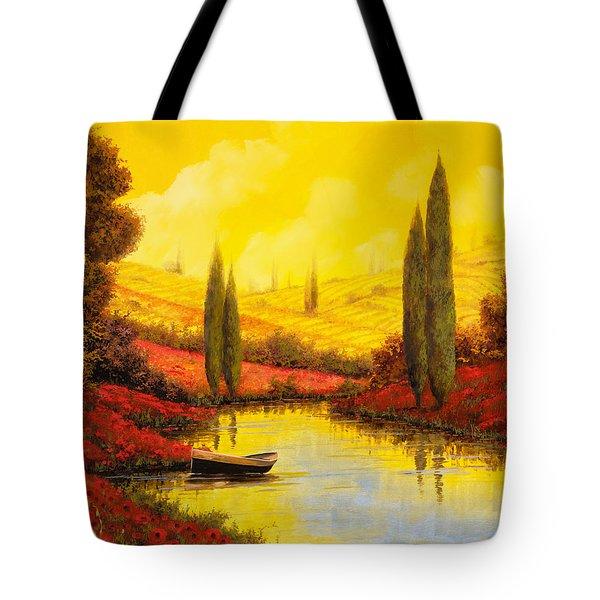 Al Tramonto Sul Torrente Tote Bag by Guido Borelli