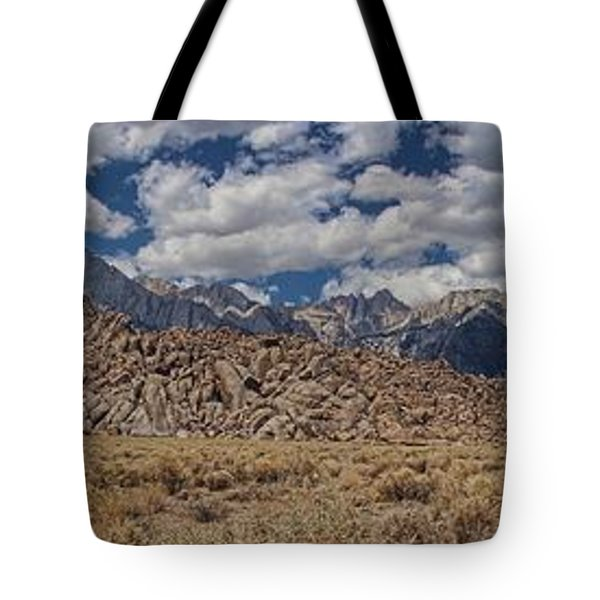 Alabama Hills And Eastern Sierra Nevada Mountains Tote Bag by Peggy Hughes