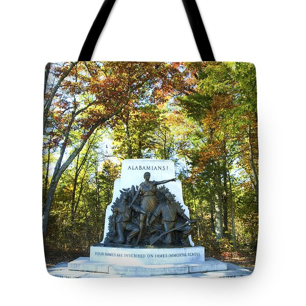 Alabama Monument At Gettysburg Tote Bag by Paul W Faust -  Impressions of Light