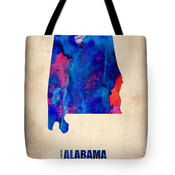Alabama Watercolor Map Tote Bag by Naxart Studio