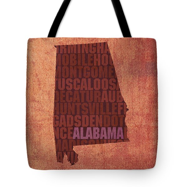 Alabama Word Art State Map On Canvas Tote Bag by Design Turnpike