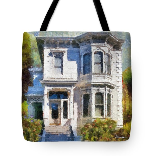 Tote Bag featuring the painting Alameda 1880 - Queen Anne  by Linda Weinstock
