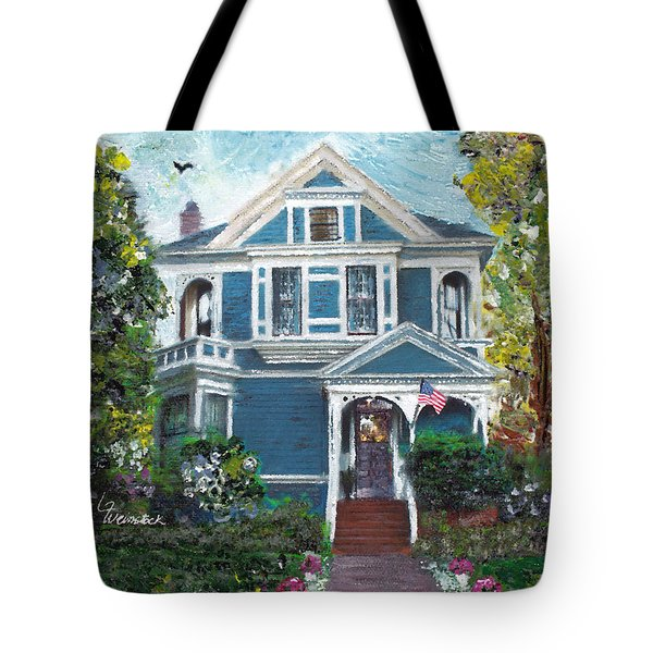 Tote Bag featuring the painting Alameda 1887 - Queen Anne by Linda Weinstock