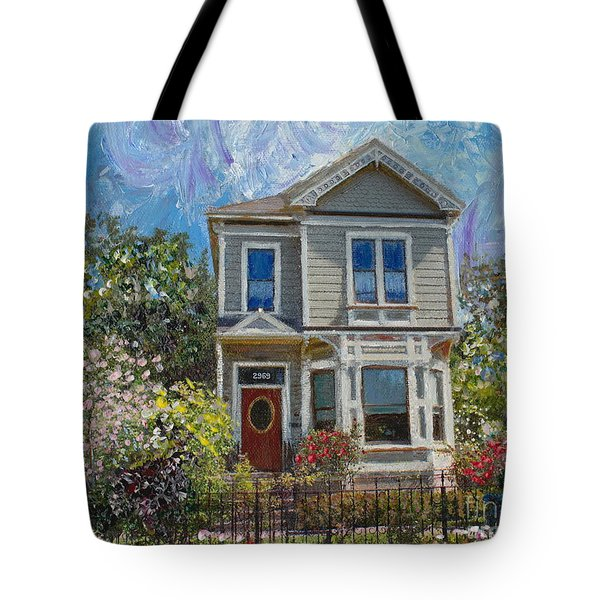 Tote Bag featuring the painting Alameda 1892 Queen Anne by Linda Weinstock