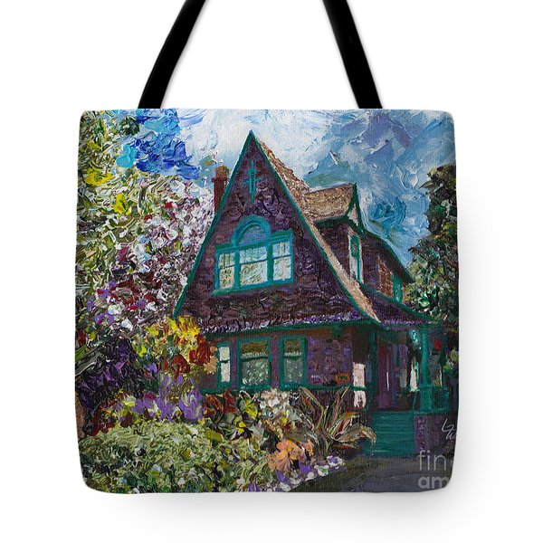Tote Bag featuring the painting Alameda 1907 Traditional Pitched Gable - Colonial Revival by Linda Weinstock