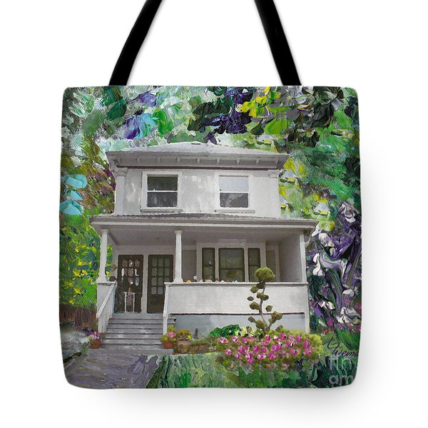 Tote Bag featuring the painting Alameda 1933 Duplex - American Foursquare  by Linda Weinstock