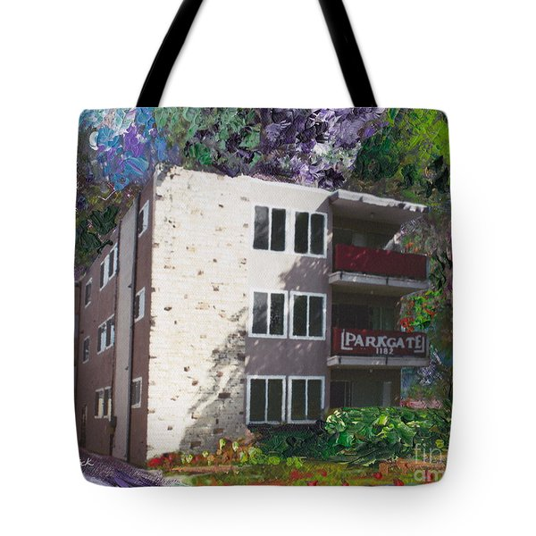 Tote Bag featuring the painting Alameda 1964 Apartment Architecture   by Linda Weinstock